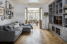 Living room in a redesigned and remodelled family home in West London, UK - ARC105825