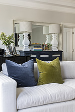 Cushions on a sofa in a refurbished apartment in Hove, East Sussex, UK - ARC105851