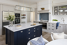 Kitchen with island unit in a refurbished apartment in Hove, East Sussex, UK - ARC105856