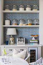Shelving in a kitchen in a refurbished apartment in Hove, East Sussex, UK - ARC105859
