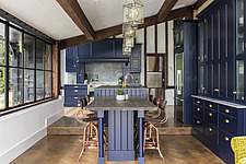 Kitchen and dining area in a converted barn/mill in Essex, UK, featuring beautful steel windows - ARC105868