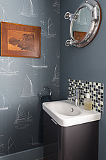 Small washbasin in a renovated house by the sea in Hampshire, UK - ARC105883