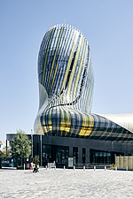 La Cité du Vin, a wine museum that boasts a bulbous shape, completed in 2016, became a major tourist attraction in Bordeaux, Aquitaine, France - ARC108010