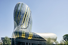 La Cité du Vin, a wine museum that boasts a bulbous shape, completed in 2016, became a major tourist attraction in Bordeaux, Aquitaine, France - ARC108011