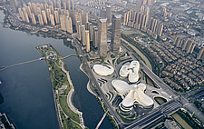 Aerial view of the Changsha Meixihu International Culture and Art Centre in Changsha, the capital of the Hunan province in China - ARC108289