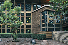 Exterior of the Beitou branch of Taipei's public library system, Taiwan's first green library which is one of the most energy efficient and envir... - ARC108502