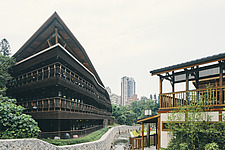 Exterior of the Beitou branch of Taipei's public library system, Taiwan's first green library which is one of the most energy efficient and envir... - ARC108504
