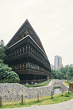 Exterior of the Beitou branch of Taipei's public library system, Taiwan's first green library which is one of the most energy efficient and envir... - ARC108505