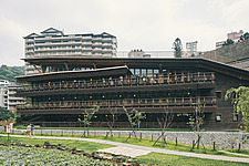 Exterior of the Beitou branch of Taipei's public library system, Taiwan's first green library which is one of the most energy efficient and envir... - ARC108507