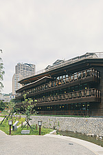 Exterior of the Beitou branch of Taipei's public library system, Taiwan's first green library which is one of the most energy efficient and envir... - ARC108508