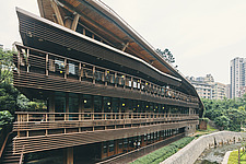 Exterior of the Beitou branch of Taipei's public library system, Taiwan's first green library which is one of the most energy efficient and envir... - ARC108510