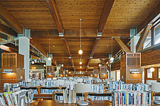 Interior of the Beitou branch of Taipei's public library system which is Taiwan's first green library and is one of the most energy efficient and... - ARC108516