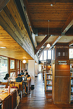 Interior of the Beitou branch of Taipei's public library system which is Taiwan's first green library and is one of the most energy efficient and... - ARC108518