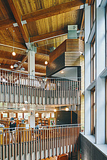 Interior of the Beitou branch of Taipei's public library system which is Taiwan's first green library and is one of the most energy efficient and... - ARC108521