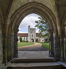 View from the chapel door, Hospital of St Cross and Almshouse of Noble Poverty, Winchester, UK - ARC109528