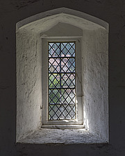 Window in gatehouse tower, Hospital of St Cross and Almshouse of Noble Poverty, Winchester, UK - ARC109535