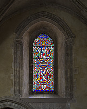 Stained glass in the chapel, Hospital of St Cross and Almshouse of Noble Poverty, Winchester, UK - ARC109538
