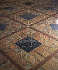 Memorial tiles in the chapel, Hospital of St Cross and Almshouse of Noble Poverty, Winchester, UK - ARC109540