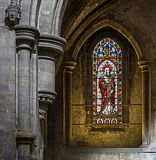 Chapel detail and window, Hospital of St Cross and Almshouse of Noble Poverty, Winchester, UK - ARC109541