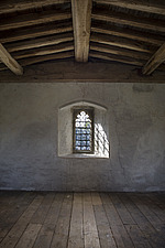 Empty room in gatehouse tower, Hospital of St Cross and Almshouse of Noble Poverty, Winchester, UK - ARC109542