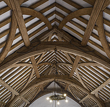 Wooden ceiling in a large hall, Hospital of St Cross and Almshouse of Noble Poverty, Winchester, UK - ARC109543