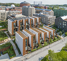 Aerial view of Zenhusen (the Zen Houses) sustainable town houses, Stockholm, Sweden - ARC109573