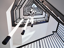 View up main staircase, interior of Arnold House, Shoreditch, London UK - ARC109756