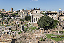 Antoninus and Faustina Temple in the middle of this scene from the Roman Forum in Rome, Italy - ARC109919