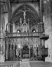 The interior of St Chad's Roman Catholic Cathedral, looking towards the rood screen - ARC108182