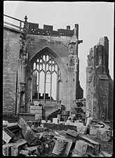 The west window of the Ely Chapel at Manchester Cathedral, showing bomb damage - ARC108186