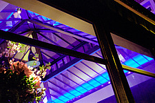 Abstract pattern of  blue and purple coloured light at Mezzo Restaurant, Soho, London - 10051-220-1